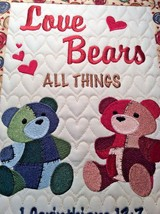 Christian Wall Hanging 12 x 14 Love Bears All Things 1 Corinthians 13:7 - $45.00