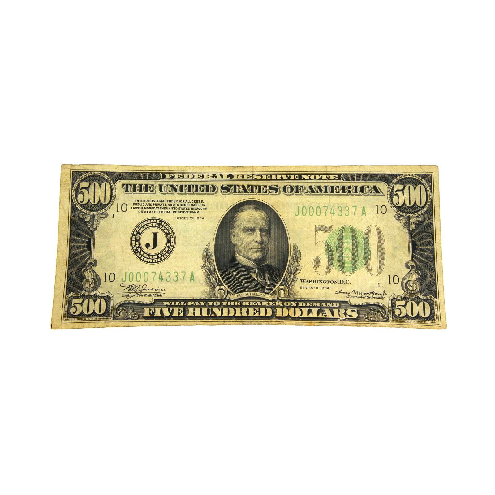 1934 $500 Federal Reserve Note Five hundred  Dollar J