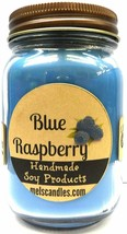 Mels Candles and More Blue Raspberry 16oz Country Jar Handmade Soy Candl... - $14.66