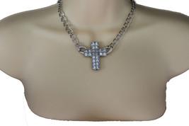 Donna Collana Alla Moda Metallo Argento Chain Link Bling Strass Pendente a Croce - $20.16