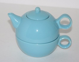 Old Amsterdam Porcelain Works Teapot, Cup Tea for One, Powder Blue - $24.57