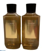 (2) MEN'S SUEDE  2in1 Hair & Body Wash Bath & Body Works 10 Oz each - $37.39