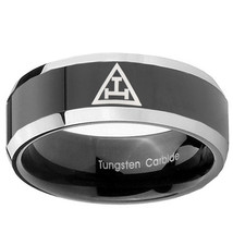 Masonic Triple 8mm Two Tone Black Beveled Tungsten Ring - $43.99