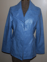 Rave Faux Leather Jacket Juniors Small Trendy Coat Light Blue Lined Fitted BTS - $19.75