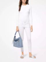 e65fab6196b4 Michael Kors Evie Large Hobo Shoulder Bag Pebbled Leather Color-Pale Blue. 1