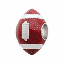 Persona Sterling Silver Brown Red American Football Touchdown European Charm NIB image 1
