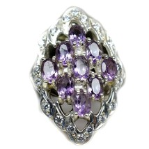 Natural Amethyst Purple Oval Cut Stone 925 Silver Ring Size US 4,5,6,7,8... - $57.82