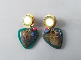 Vintage Fashion Earrings 1980's Retro Mod Costume Dangle Hammered Metal - $18.59