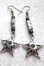 Long dangly magnetic Hematite and marbled stone earrings with star charms - $24.00