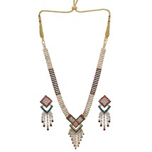 Indian Bridal Multi-Color CZ AD Party Wear Traditional Fashion Jewelry Set - $22.57