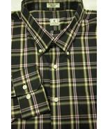 NEW Peter Millar Black With Purple and Gray Plaid BD Cotton Shirt XXL 18... - $44.99