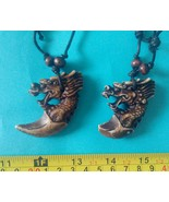 2 dragons pendant Philippine made by Ifugao Filipino tribal Resin necklace - $12.50