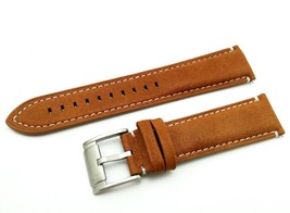 L.Brown/White #2 Strap/Band for FOSSIL Watch Genuine Leather Silver/Buckle  22mm - $20.00
