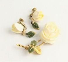 VINTAGE ESTATE Jewelry WELLS 14K GF JADE ROSE FLOWER SET BROOCH & EARRINGS  - $125.00