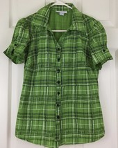 Dressbarn Short Sleeve Top Blouse Casual Shirt Button V Neck Green Plaid... - $9.85