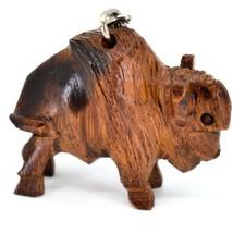 Hand Carved Ironwood Wood Folk Art 3D Buffalo Country Western Theme Keychain image 1