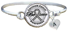 Custom Carcinoid Cancer Awareness Believe Silver Bracelet Jewelry Choose... - $13.80+