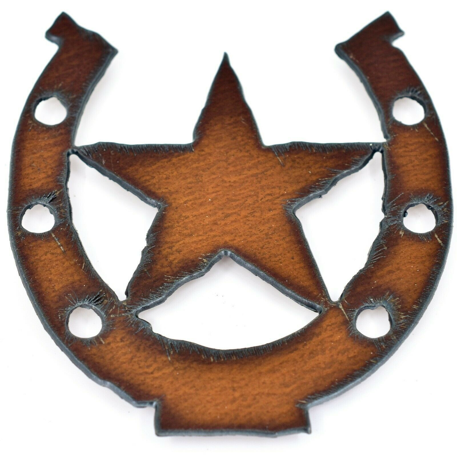 """Country Western Rusted Patina Iron Metal Cutout Lucky Horseshoe Star 3.5"""" Magnet"""