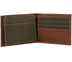 Timberland Men's Hunter Leather Waxed Canvas Credit Card ID Passcase Wallet image 12