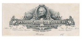 Peabody Medical Institute, Boston, 1870s Billhead Proof, American Bank N... - $37.00