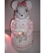 1990 House of Lloyd Cookie Jar Ceramic Lady Mouse w/ Teddy Bear Pink  - $37.99