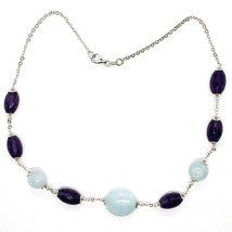 Silver 925 Necklace, Amethyst Oval, Aquamarine Disco Balls, Choker image 2