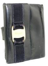 Authentic Salvatore Ferragamo VARA Black Leather Button Snap Bifold Wall... - $18.81