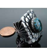 sz 8 Heavy Sterling and Turquoise Native American ring - $327.25