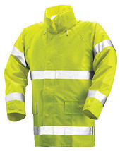 High-Visibility Jacket, Lime Yellow PVC On Polyester, Large - $56.42