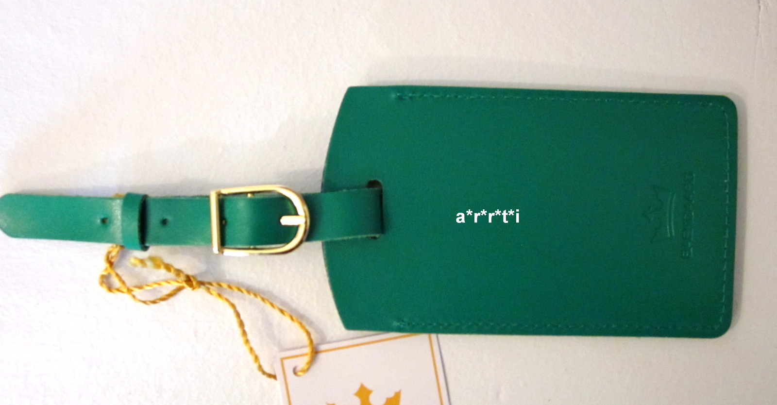 Vera Bradley Baekgaard Leather Luggage Tag Kelly Green NWT