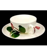 Flat Cup & Matching Saucer, Vintage Stetson China Rio, Hand Painted, Red... - $14.65