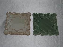 California Panty Marked Lot of 2 Tan & Green Scalloped Edge Small Square Plates  - $9.49