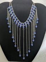 Retro Blue Bead Waterfall Adjustable Choker Necklace - $19.76