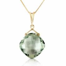 14 Karat Gold Distant Lover Green Amethyst Pendant - $350.75