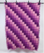 Vtg Purple Wool Monochrome Check Quilt Patchwork Blanket Afghan Throw Co... - $34.64