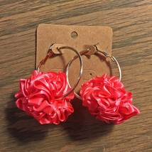 Fabric Hoop Earrings, Gold Hoop Earrings, Ruffle Fabric Earrings, Bright Pink
