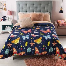 Blue Butterflies Winter Bedding with Sherpa Full Queen Soft and Thick Wa... - $70.09