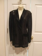 nwt frederick's of hollywood black sequin satin trim evening jacket size 9/10 - $49.49