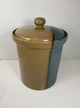"""Sango 5040 Gold Dust Green Large Canister with Lid - 6.75"""" w/o lid, 8"""" with lid - $18.99"""