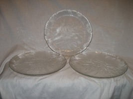 """3 Arcoroc CANTERBURY 10.75"""" Dinner Plates Clear Glass Crystal Floral France - $14.80"""
