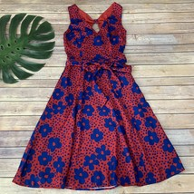 Modcloth Timeless Magnetism Dress Size XS Red Blue Floral Sleeveless Poc... - $33.65