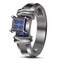 Blue Sapphire 10k Black Gold Finish 925 Sterling Silver Engagement Weddi... - $106.83 CAD
