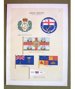 FLAGS England Depts Lloyds Trinity House Cinque Ports - 1899 Color Litho... - $16.20