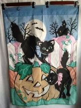 "Vintage 1970's Flag Banner Halloween Black Cat Pumpkin Full Moon  28"" X 40"" - $24.50"