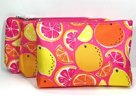 3pc Clinique Makeup Bags Lemon, Orange, Pink Grapefruit (lightly padded) - $7.98