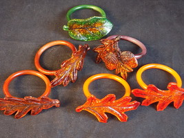 """LUCITE NAPKIN RINGS Fall Leaf Acorn Patterns 2"""" across 1.5"""" ID Set of 6 - $9.89"""