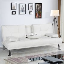 Luxury Goods Modern Faux Leather Futon Sofa Bed Home Recliner Couch, White - $389.00