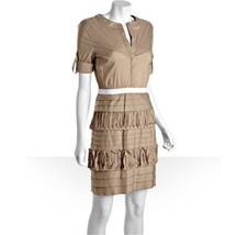 BCBG MAXAZRIA Khaki Ruffled Stretch Cotton 'Nikomi' Shirt Dress XS - $35.63