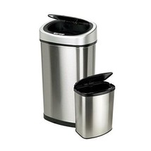 13 Gal Touchless Trash Can Automatic Motion Sensor Stainless Steel + XTR... - $95.33
