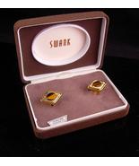 Swank Tiger Eye Cufflinks - Vintage original box - tuxedo set - Gold sil... - $135.00